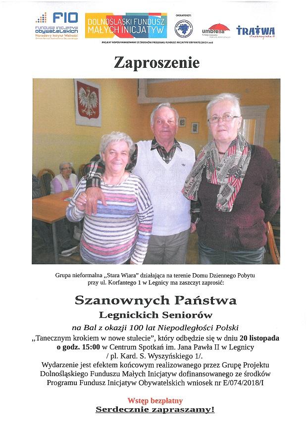 Zaproszenie Legnickich Seniorów na Bal z okazji 100 lat Niepodległości Polski